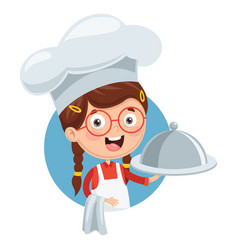 Chef kid cooking vector