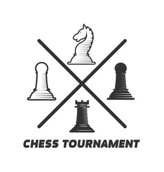 Chess tournament logotype with figures isolated on vector
