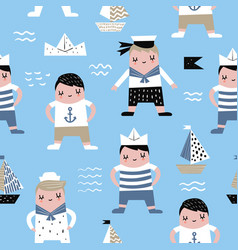 Childish seamless pattern with sailor boy vector