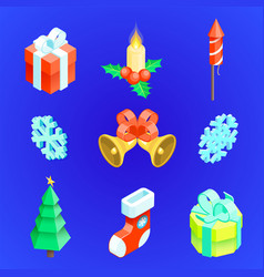 Christmas new year icons set vector