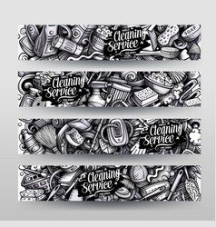 cleaning hand drawn doodle banners design vector image