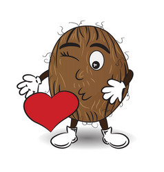 coconut is sending a kiss vector image