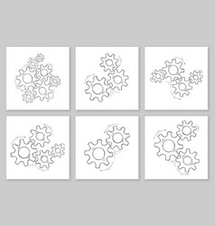 Cog and gear set hand drawn teamwork concept vector