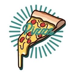 Color vintage pizza emblem vector image