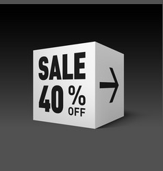 Cube banner template for holiday sale event forty vector
