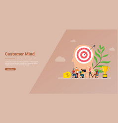 Customer mind with big head and goals target vector