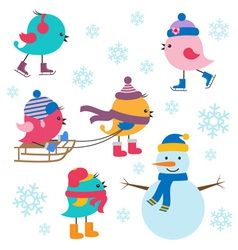 Cute birds winter vector