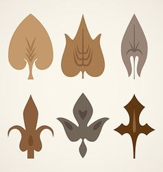 decorative brown leaves pattern set isolated on vector image