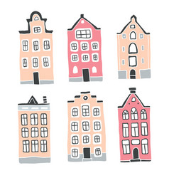 decorative houses collection scandinavian city vector image