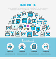 Digital printing concept with thin line icons vector
