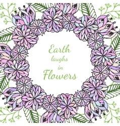 Entangle frame doodle flowers pattern vector
