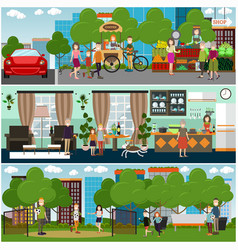 family characters at home and outdoors flat vector image