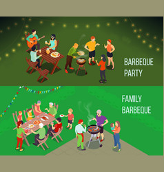 Family picnic isometric banners vector