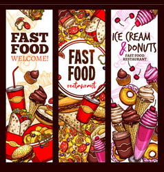 fast food restaurant sketch banner menu flyer set vector image