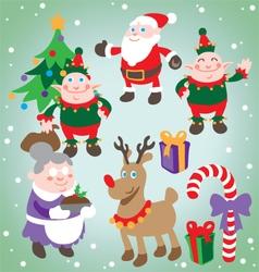 Festive christmas characters set vector