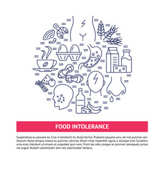 food intolerance round concept banner in line vector image