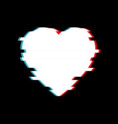 glitch heart distorted glitch style modern vector image