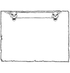 Halloween frame old scroll sheet with skulls vector