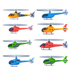 helicopters aircrafts collection flying colorful vector image