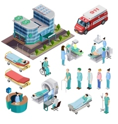 Hospital Isometric Isolated Icons vector