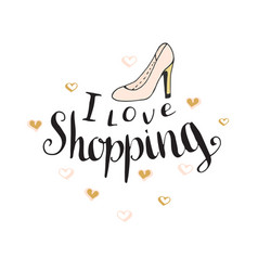 i love shopping fashion quote for blog design vector image