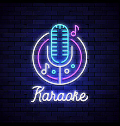 karaoke neon night bar mocrophone logo vector image