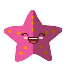 Kawaii sea star icon vector