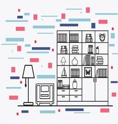 linear flat interior design of modern designer vector image