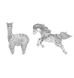 llama and horse vector image
