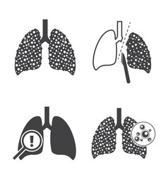 Lungs cancer icons set vector