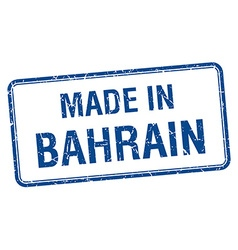 made in Bahrain blue square isolated stamp vector image