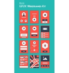 Mobile UI and UX Wireframes Kit vector