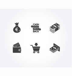money bag usd currency and cashback card icons vector image