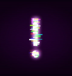 Neon exclamation mark with glitch effect abstract vector