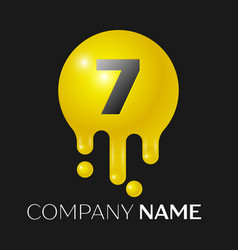 number seven splash logo yellow dots and bubbles vector image