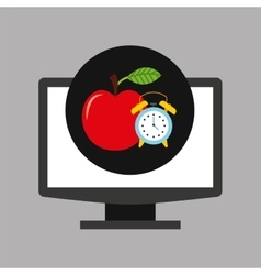 online education technology clock and apple vector image