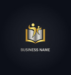 open book education people gold logo vector image