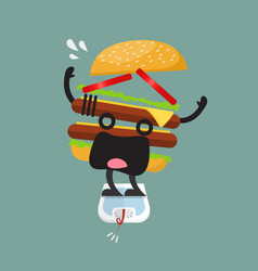 Overweight burger character on weight scale vector