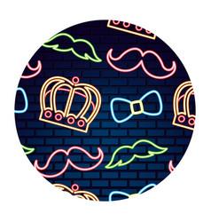 party crown mustache bowtie neon brick wall vector image