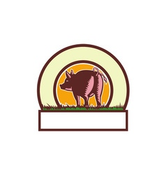 Pig tail rear circle woodcut vector