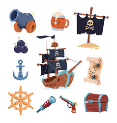 pirate paraphernalia isolated on white vector image