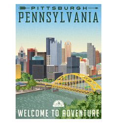 Pittsburgh pa poster vector