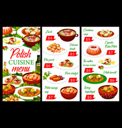 Polish cuisine restaurant menu poland food dishes vector