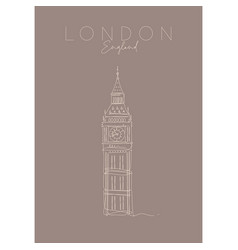 poster uk big ben brown vector image