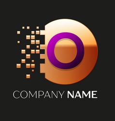 Purple letter o logo symbol in golden pixel circle vector