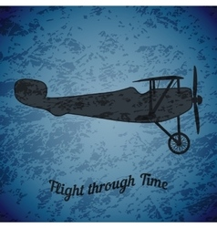 Retro airplane on blue grunge background vector
