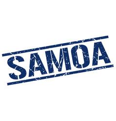 Samoa blue square stamp vector