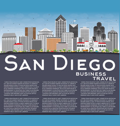 san diego skyline with gray buildings blue sky vector image