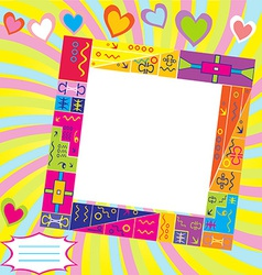 Scrapbook with frame for photo and place for text vector image