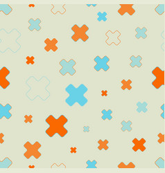 seamless pattern of cross signs scattered vector image